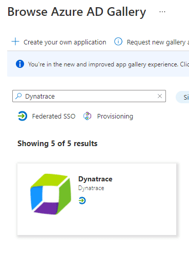 Search for Dynatrace application