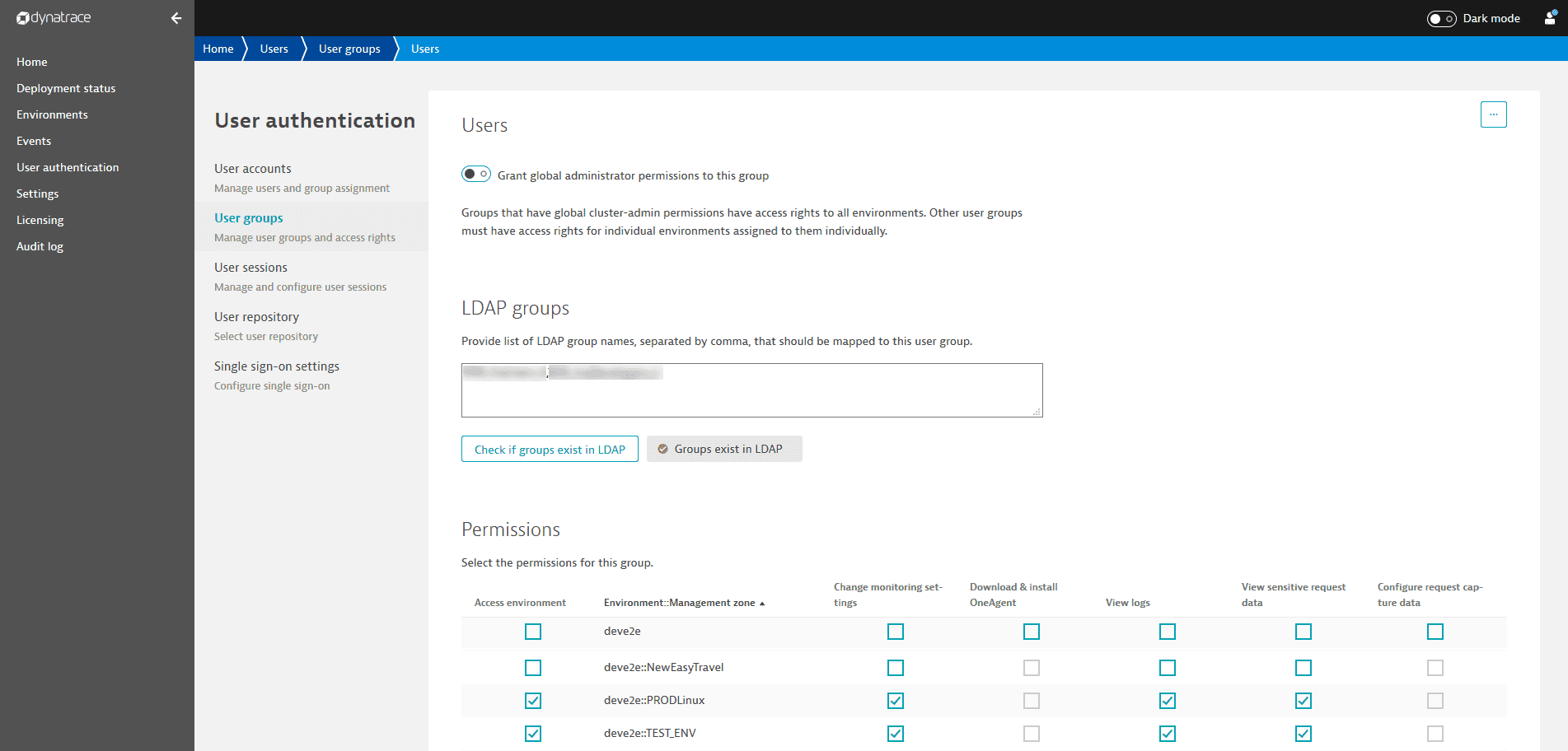 Dynatrace Managed user groups