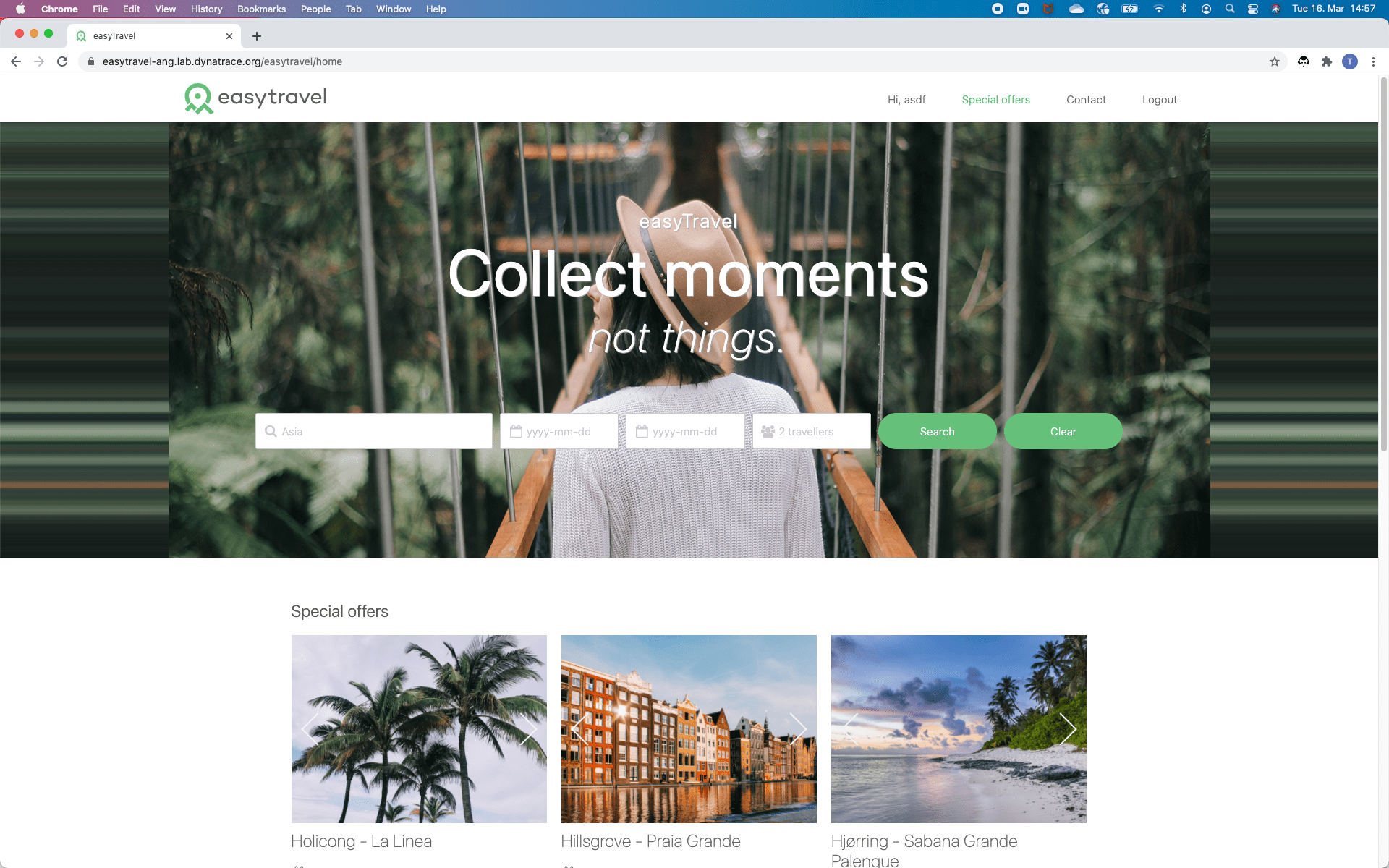 EasyTravel page