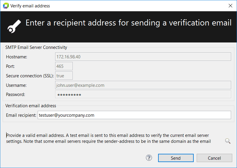 Verify Email Address dialog box