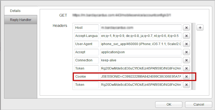 Example cookie in HTTP request