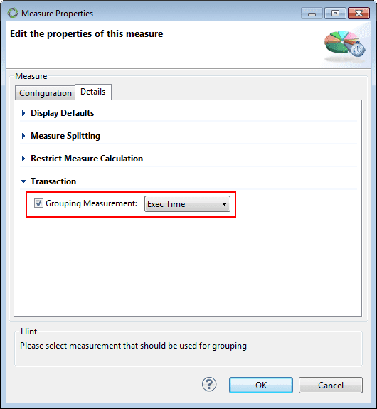 Screenshot 5: Grouping Measurement set to Exec Time