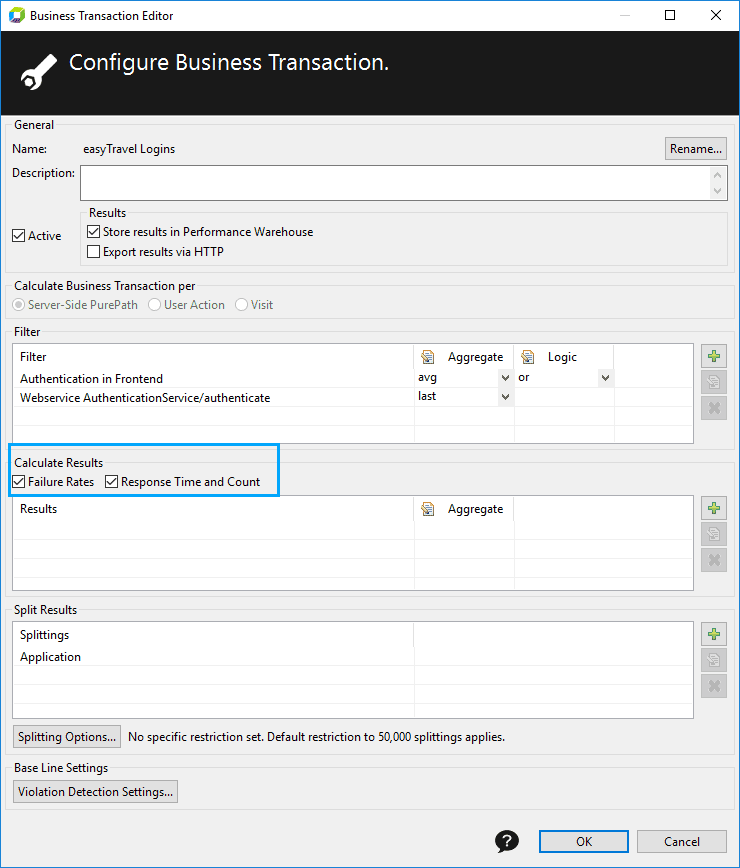 Selecting required settings