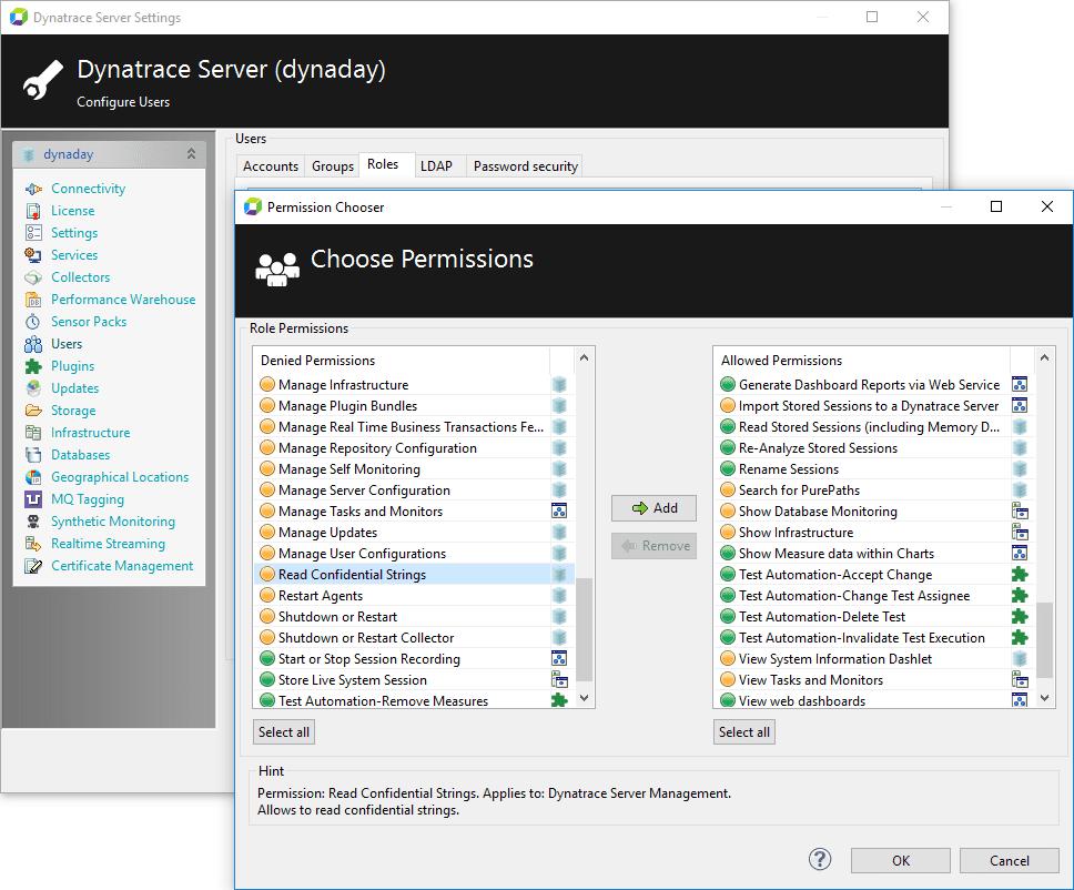Figure 2. AppMon Server Settings -Permission to Read Confidential Strings