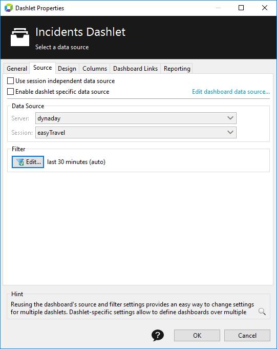 Dashlet properties - Source tab