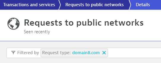 Requests to public networks - filtered by7 domain name