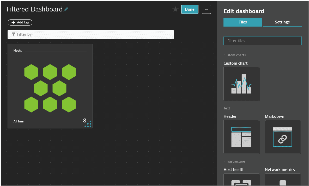 filter tiles: dashboard edit mode