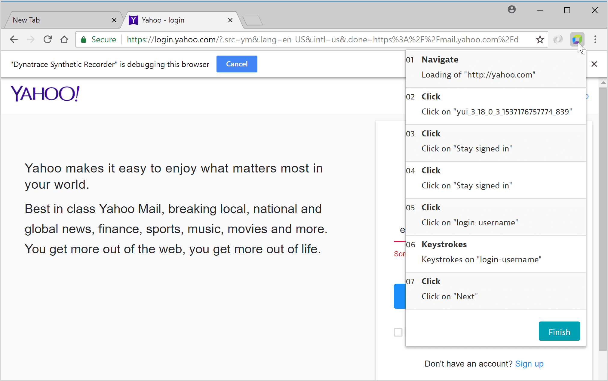 Record a browser clickpath | Dynatrace Help