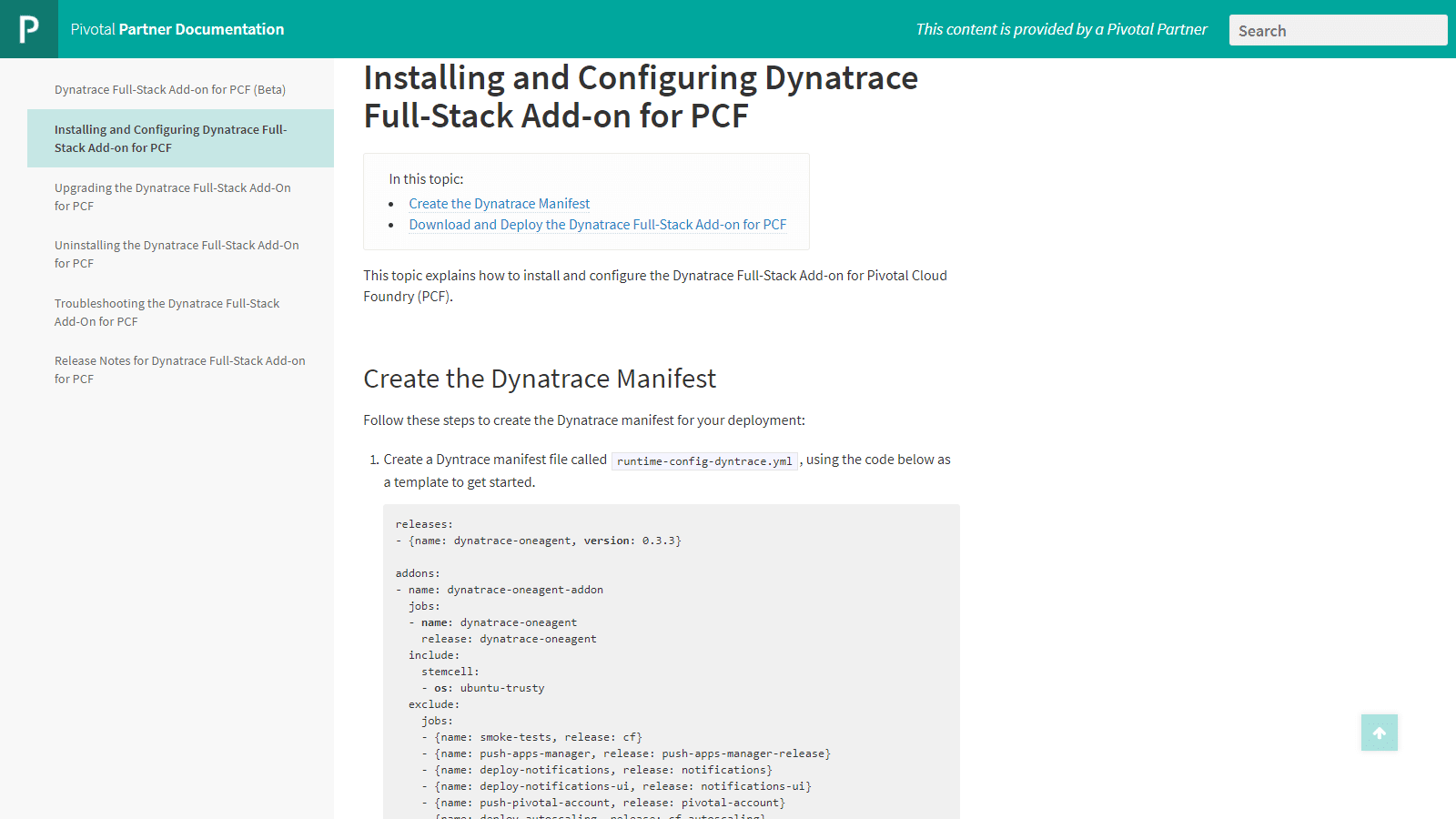 Configure and Install the Dynatrace Full Stack Add-on for PFC