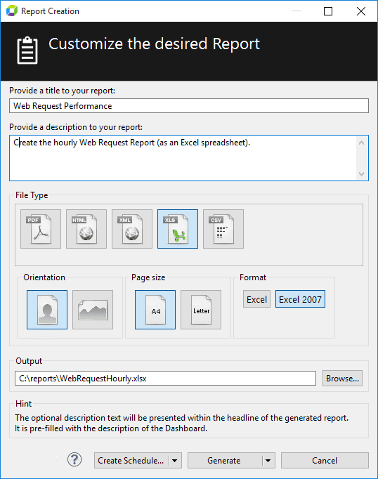 Generate Report dialog box