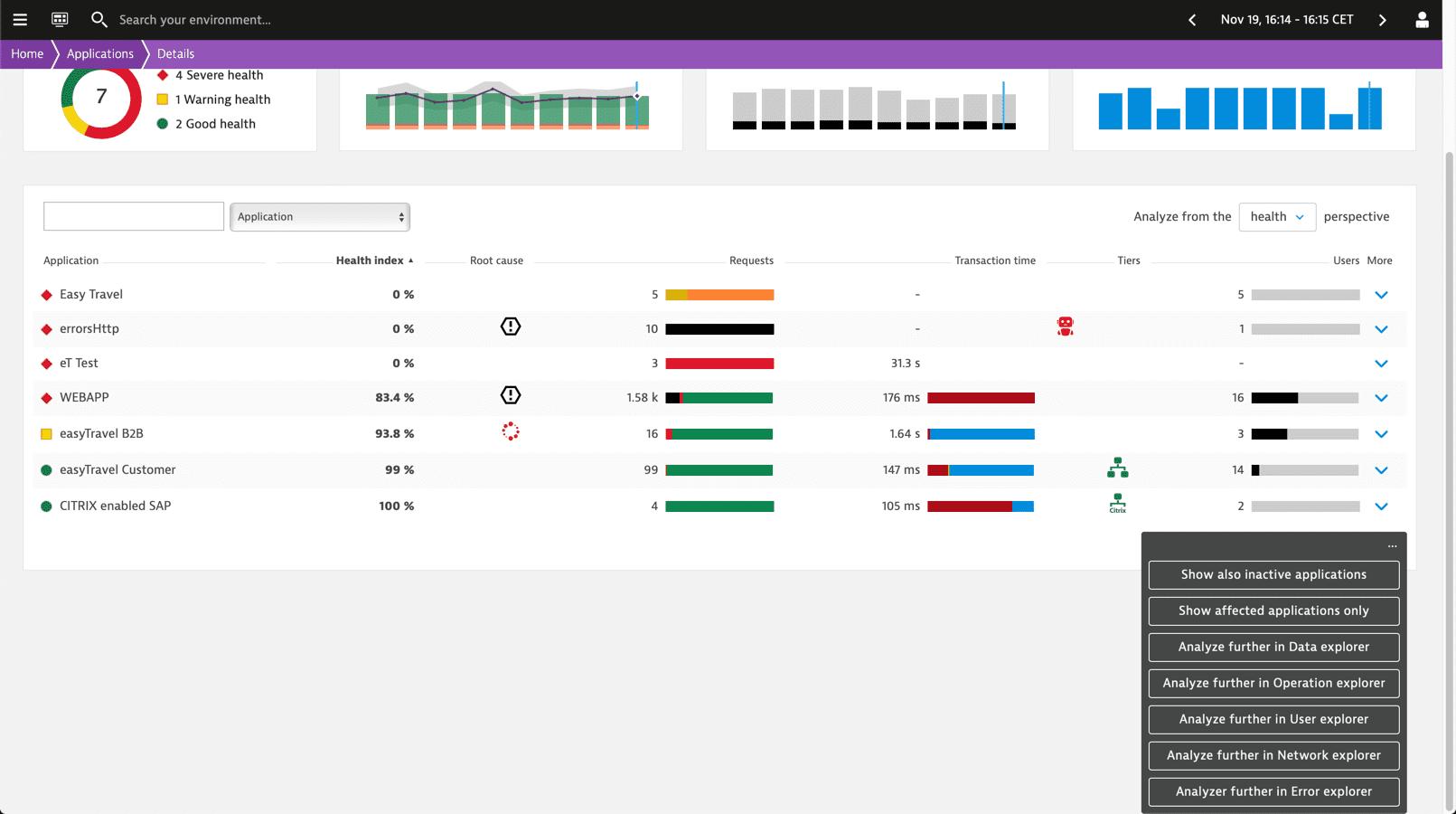 NAM: Health dashboard: Details: switching between explorers