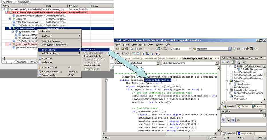 Selecting the Open in IDE command