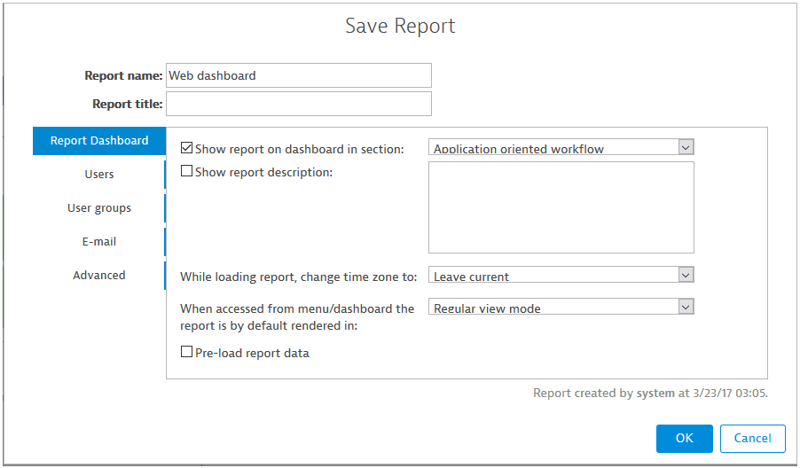 Save report screen