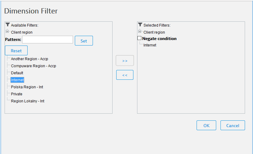 Dimension filter window