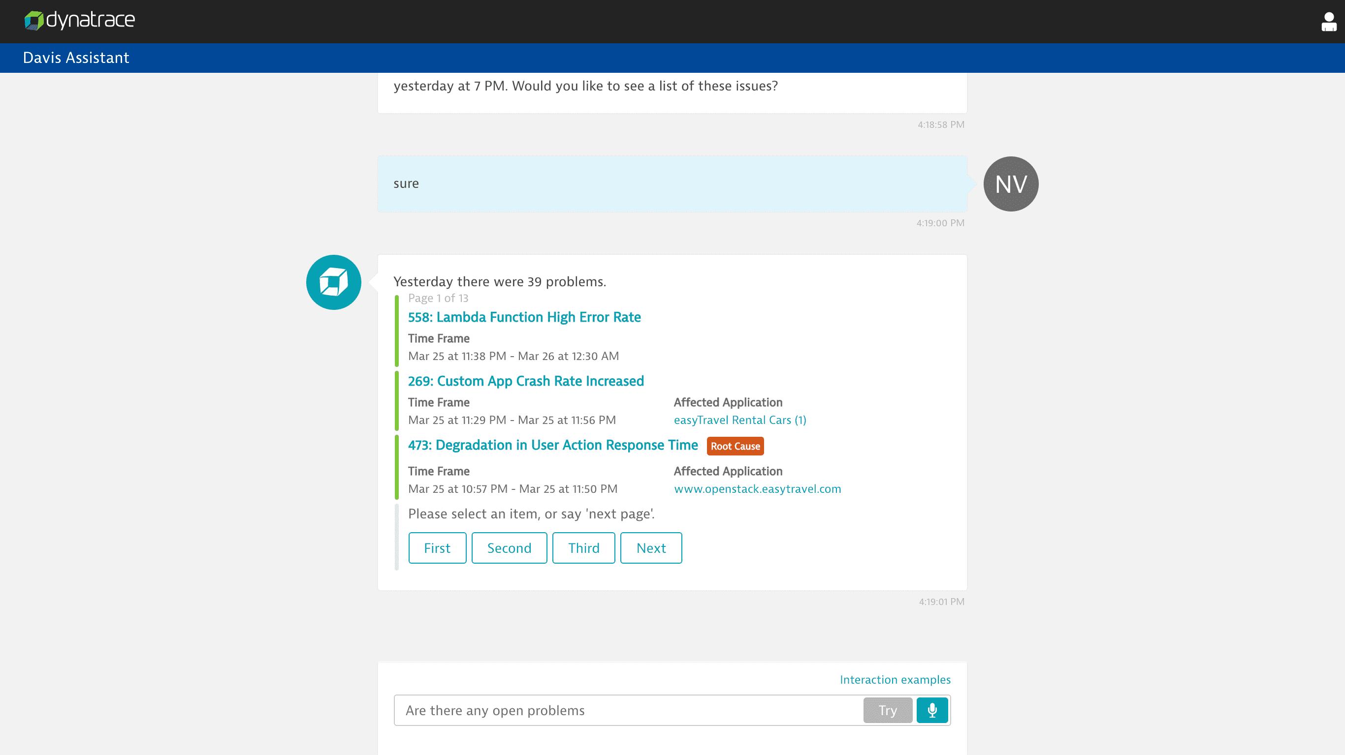 Davis Assistant web interaction