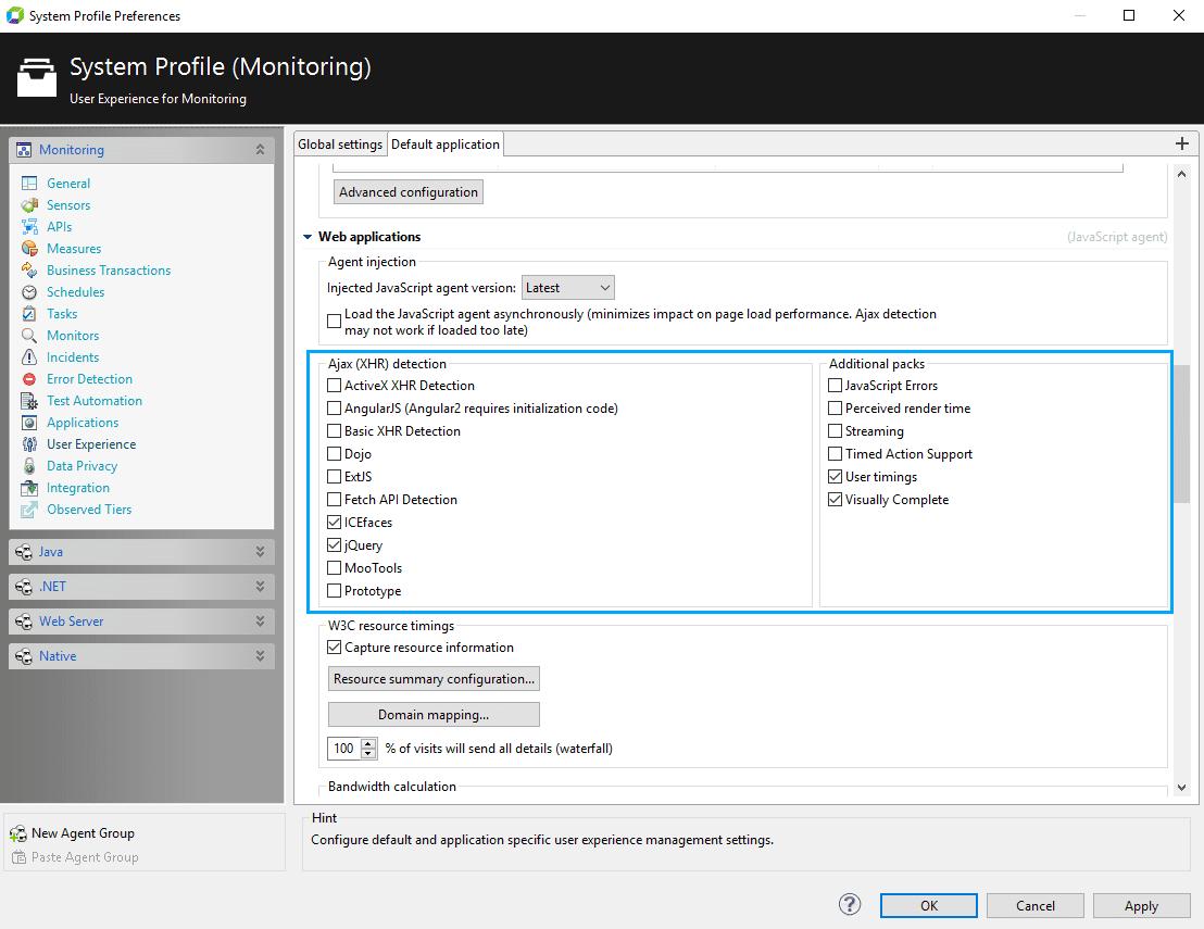 JavaScript agent configuration in AppMon client.