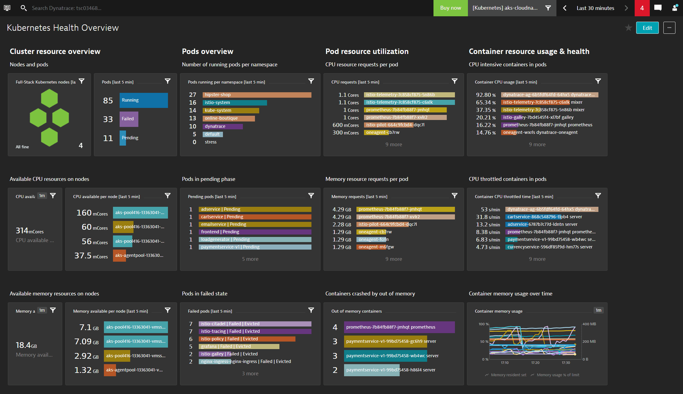 Kubernetes monitoring simplified screenshot