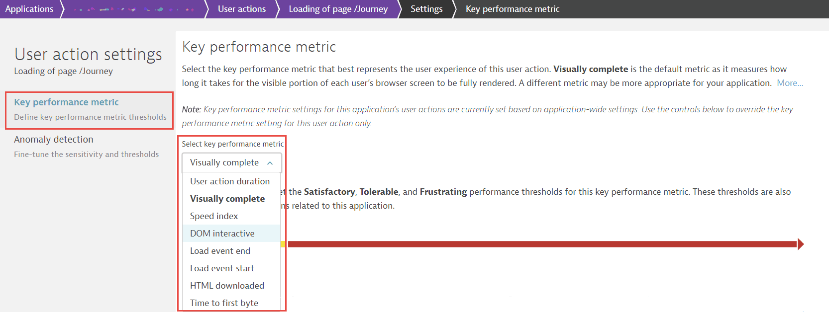 Set key performance metric for a user action