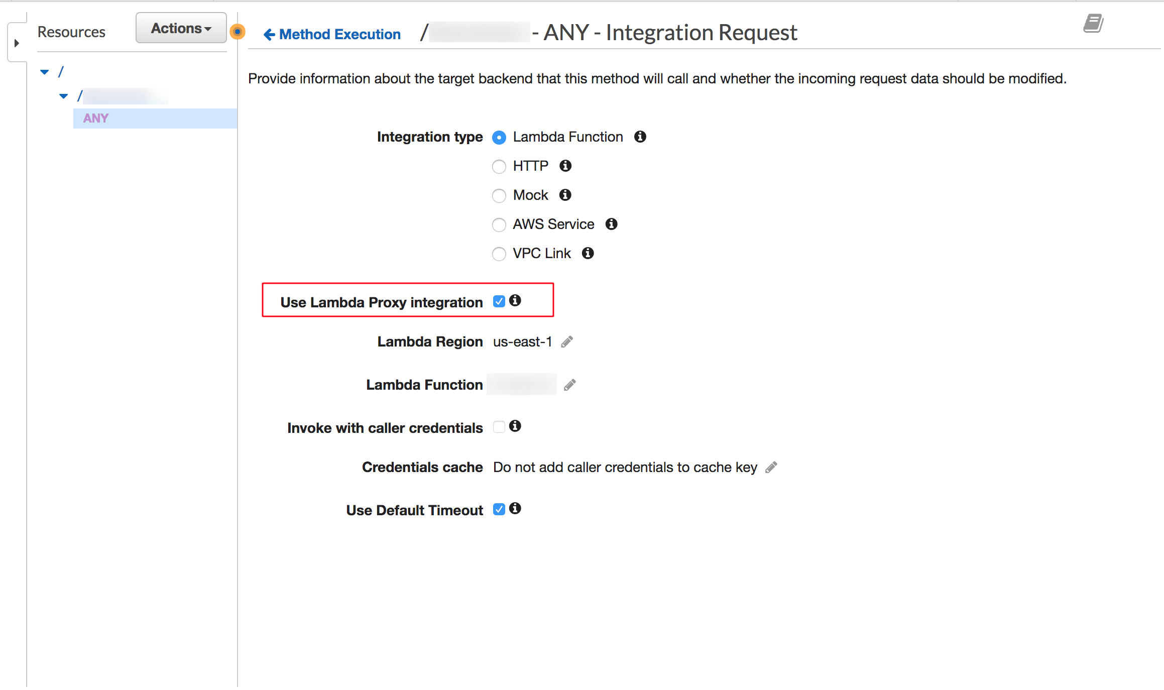 AWS Lambda proxy integration setting for API Gateway