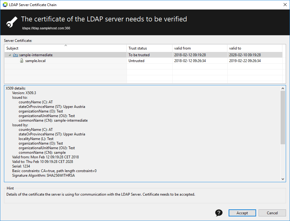 Certificate of LDAP server needs to be verified
