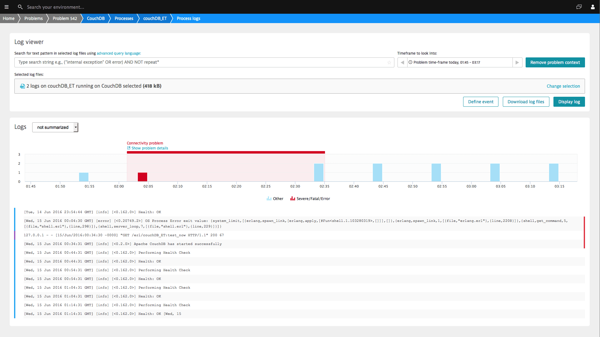 Dynatrace automatically identifies log entries related to performance issues.