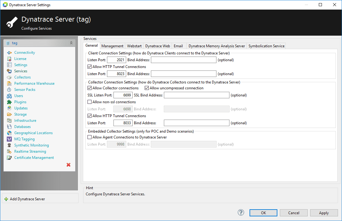 Services pane of the server settings dialog box