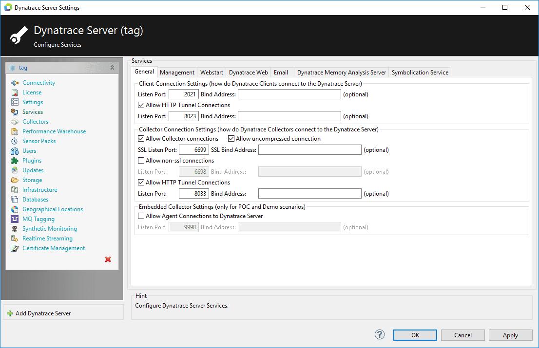 Services pane of the serversettingsdialog box