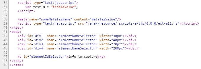 Sample HTML page from which the previous items were taken and the data is captured