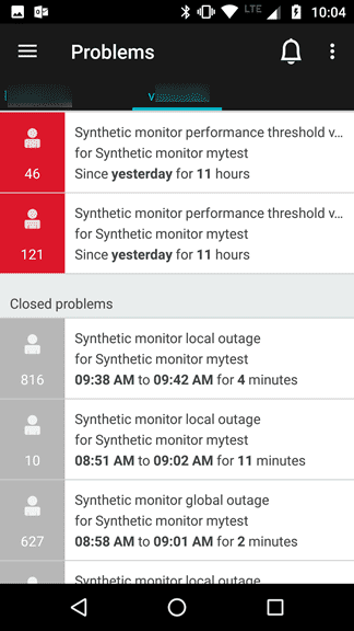 Dynatrace mobile app notifications