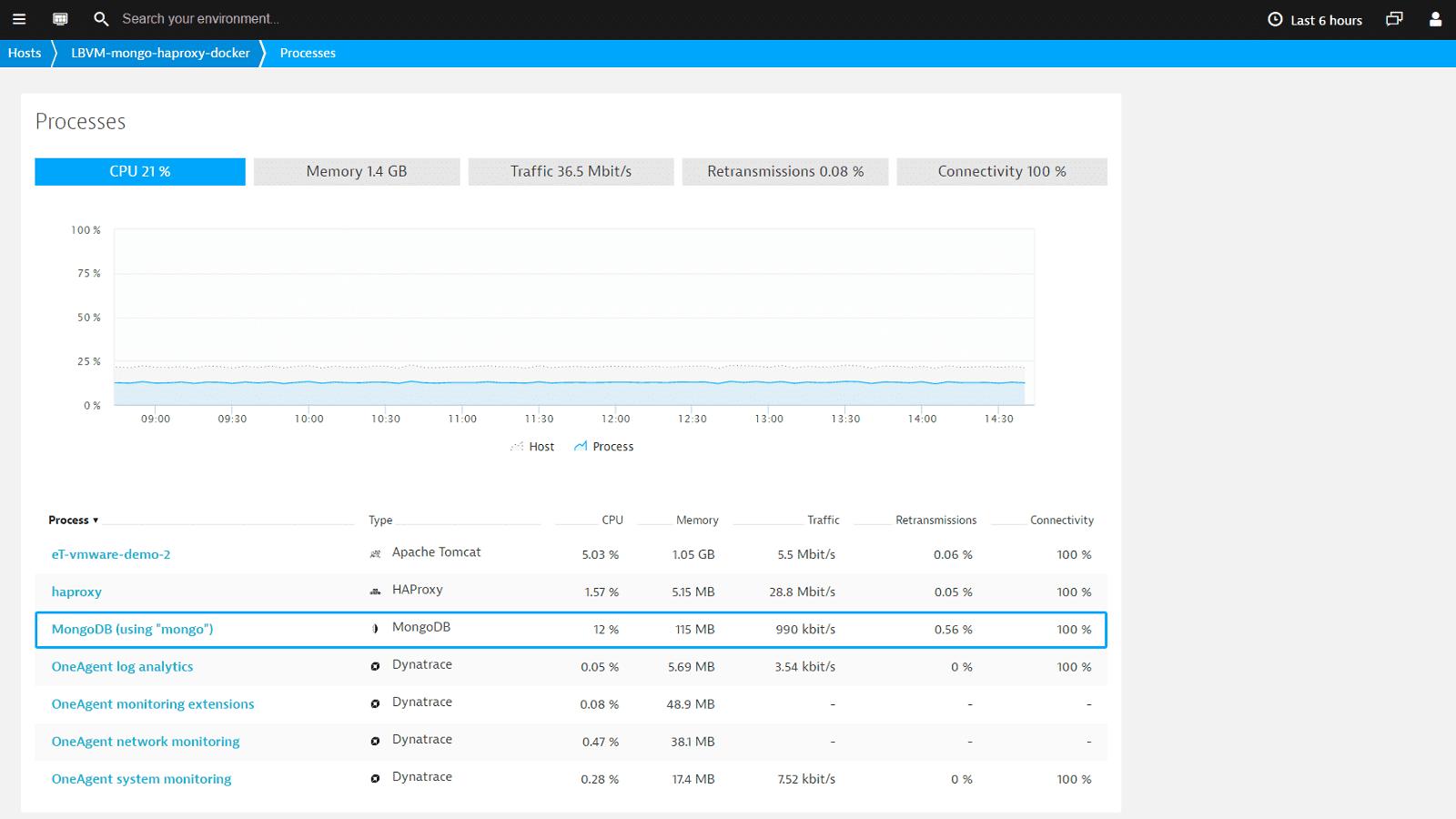 MongoDB process metrics