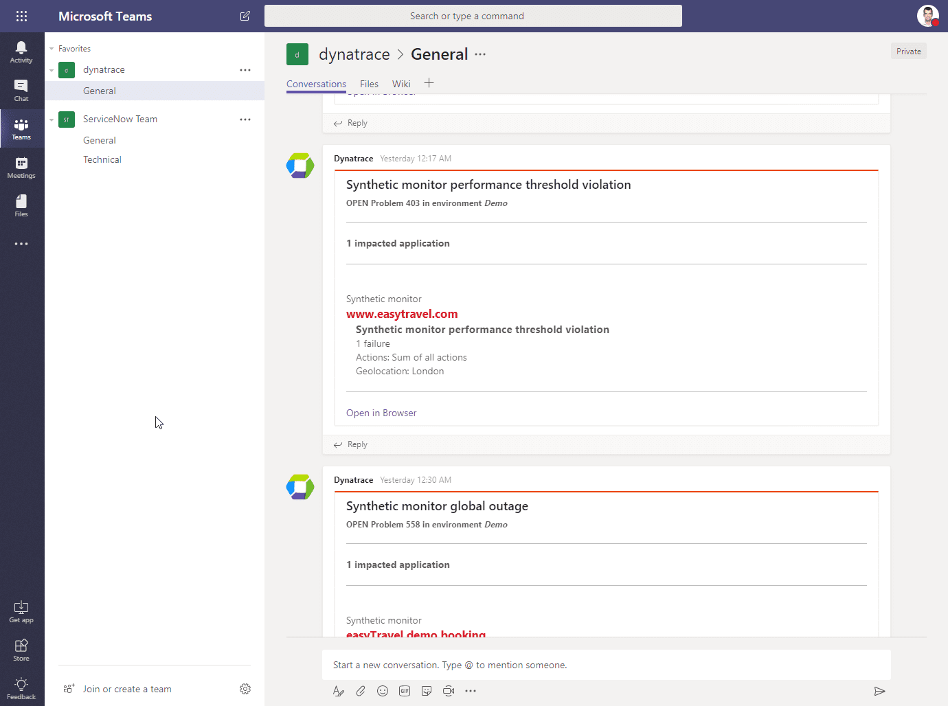 Microsoft Teams screen integrated with Dynatrace
