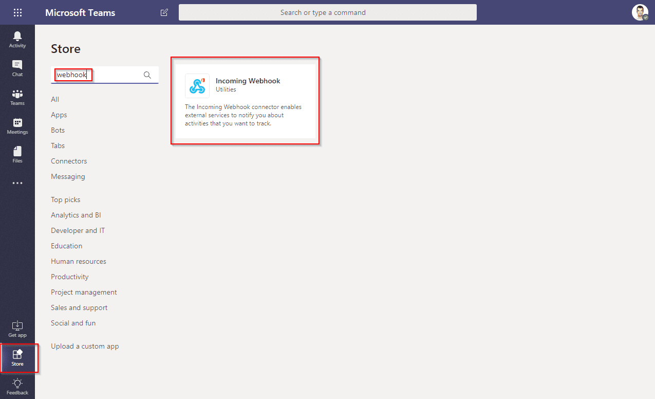 Microsoft Teams search for Incoming Webhook