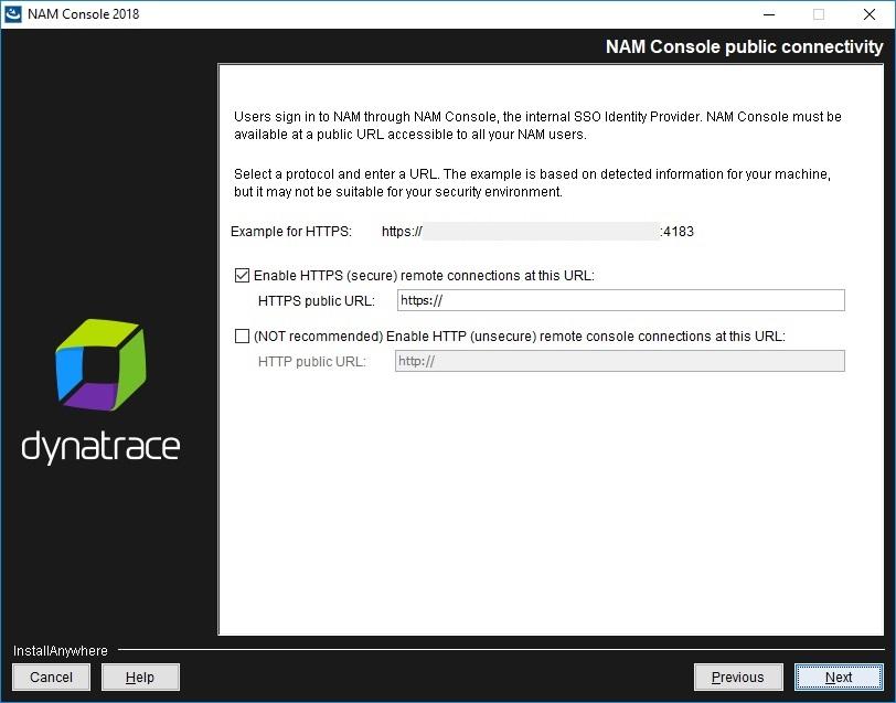 NAM Console installation - NAM Console public connectivity