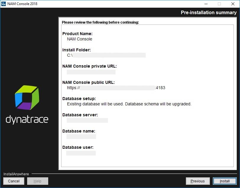 NAM Console installation - Pre-installation summary