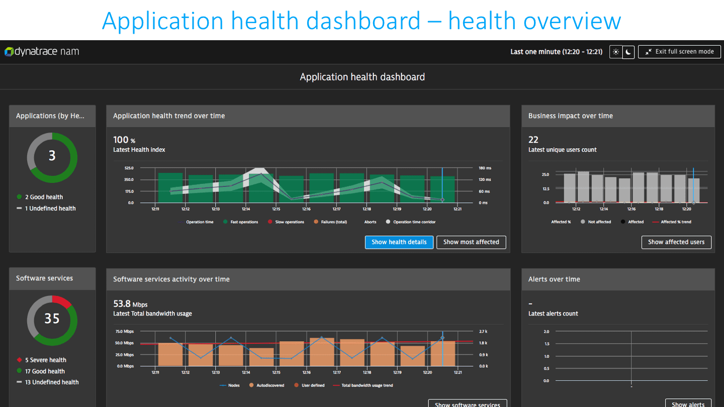 Application health dashboard