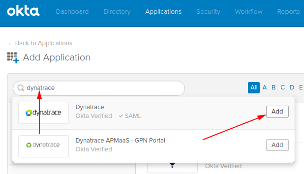 Okta - find and add Dynatrace