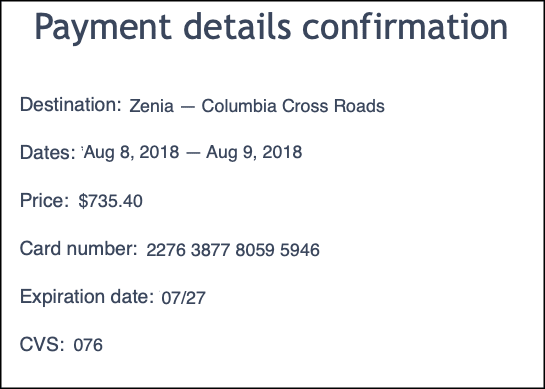 payment details with content