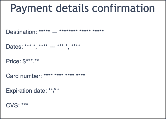 payment details with masked content