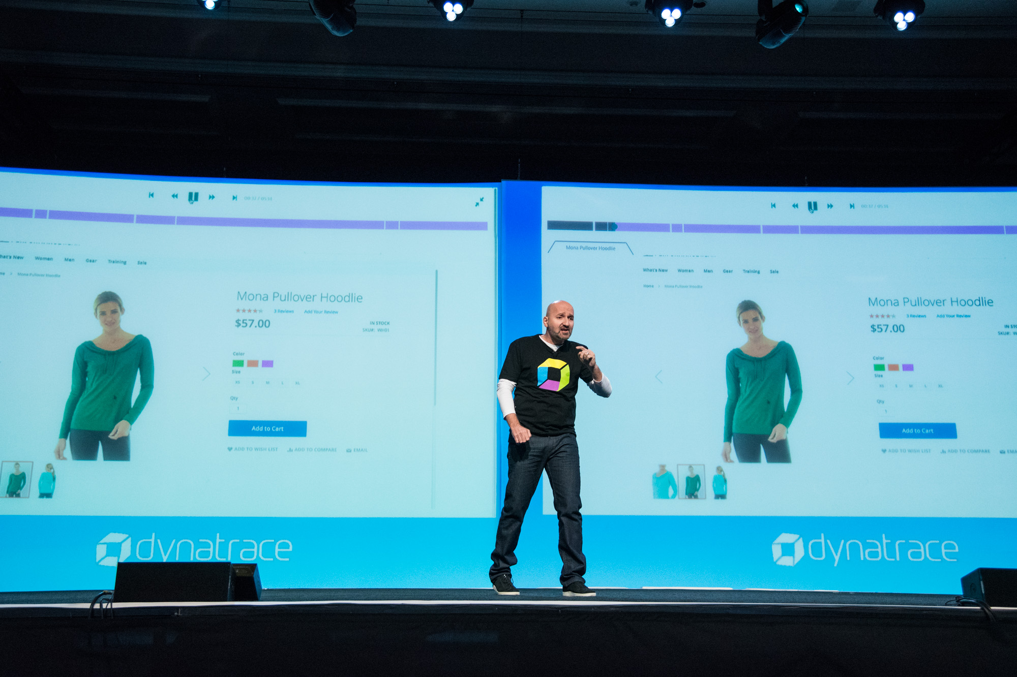 Showing off session replay on the main stage at perform 2018