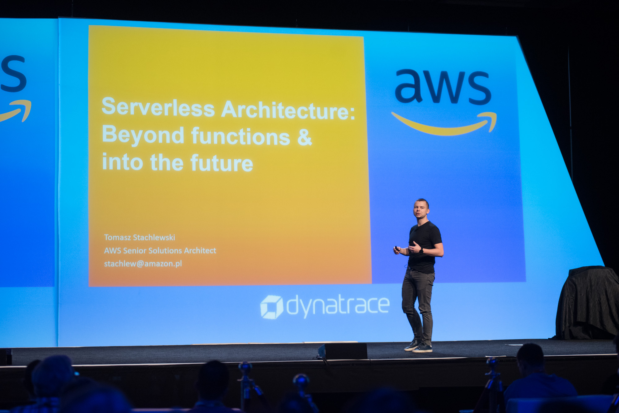 Perform main stage talking about AWS and serverless architecture