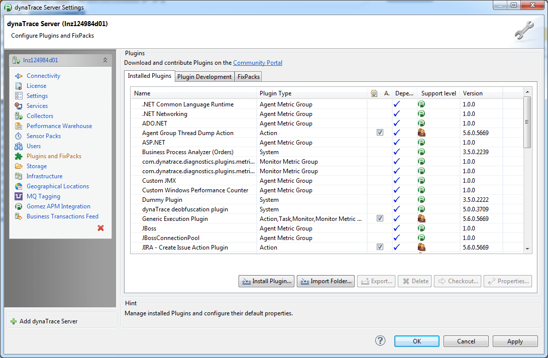 Plugins pane of the Server Settings dialog box