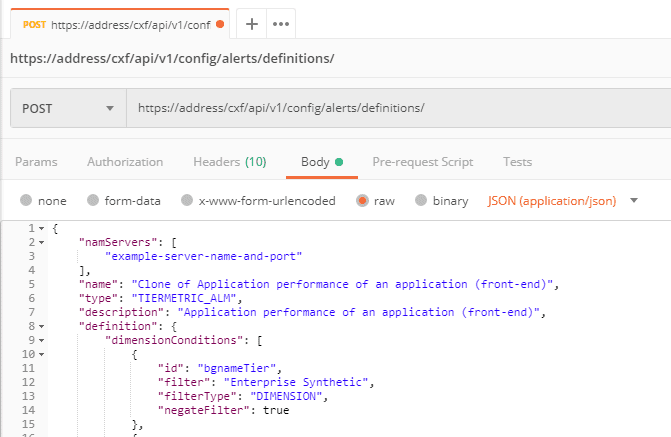 NAM Console API: example POST alert in third-party software