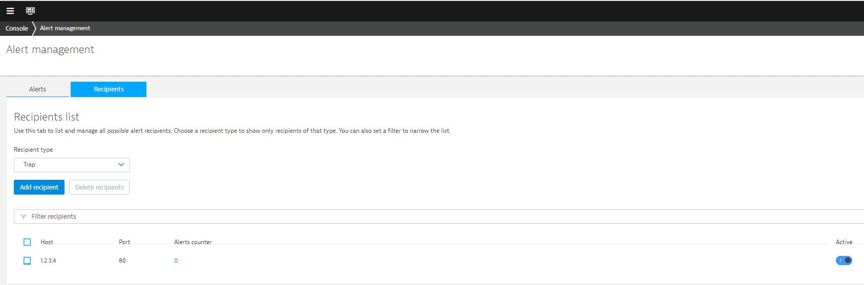 NAM API alert recipient
