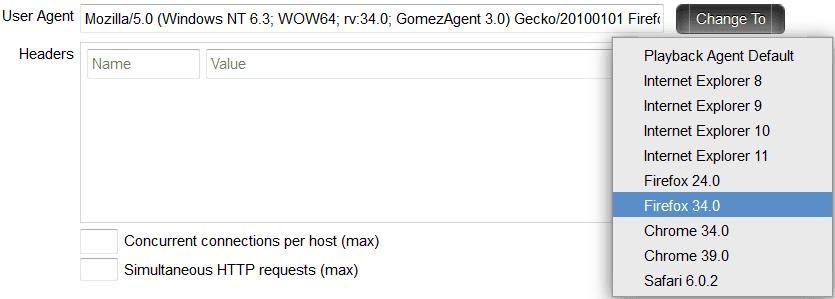 Desktop profile - select a User Agent