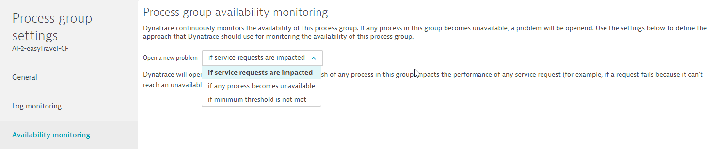 Process group availability setting