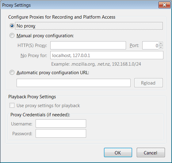 Proxy settings