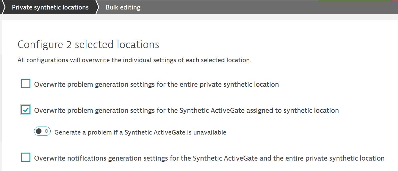 Bulk edit location outage handling