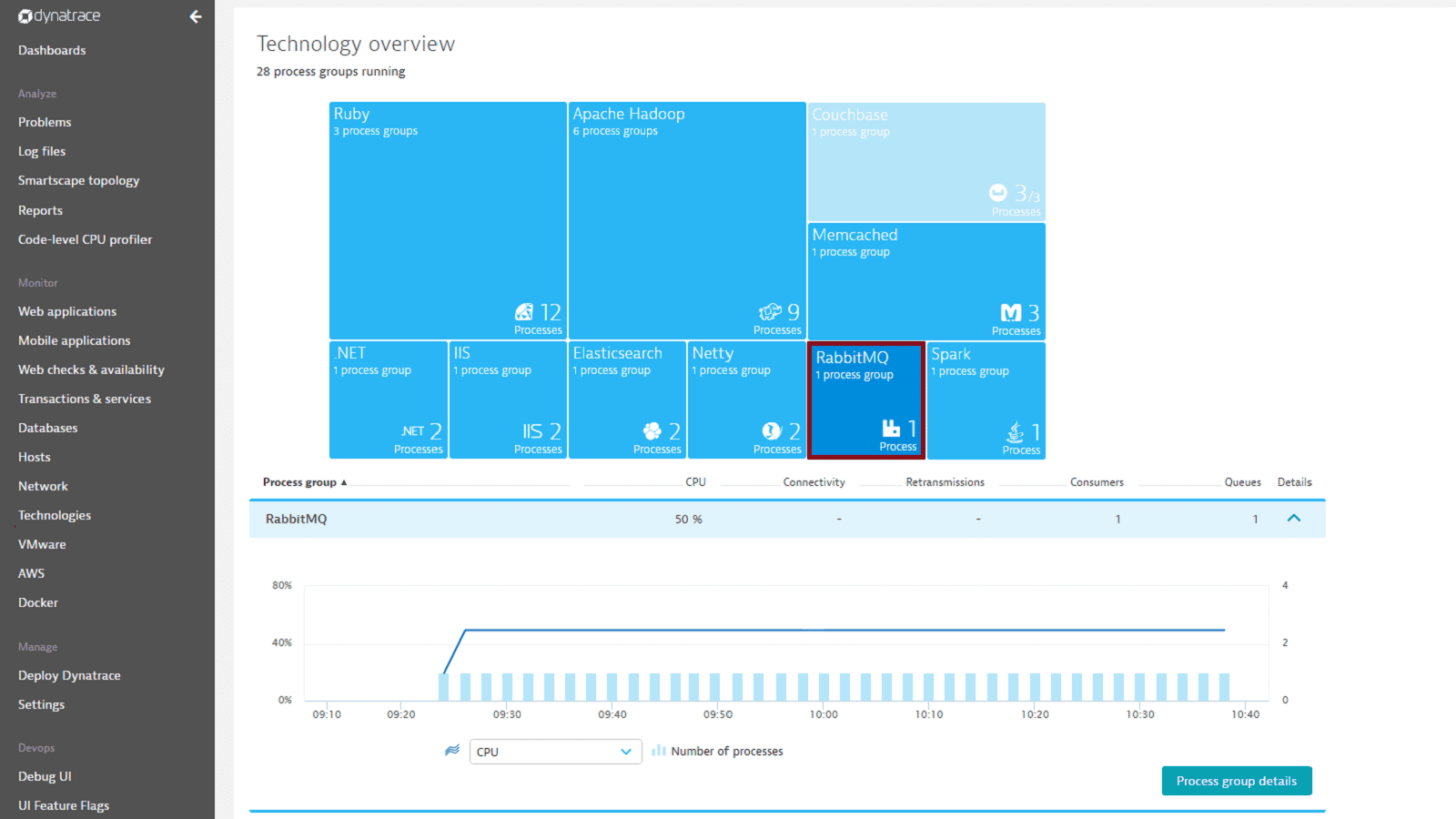RabbitMQ monitoring with Dynatrace screenshot