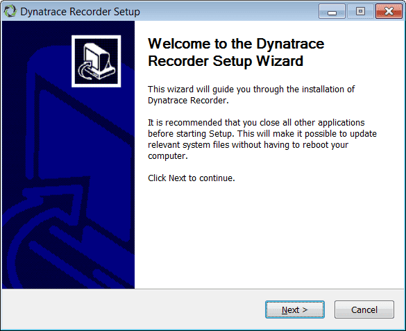 Dynatrace recorder setup wizard