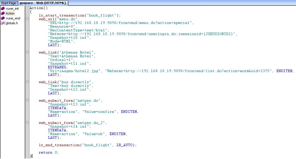 LoadRunner script